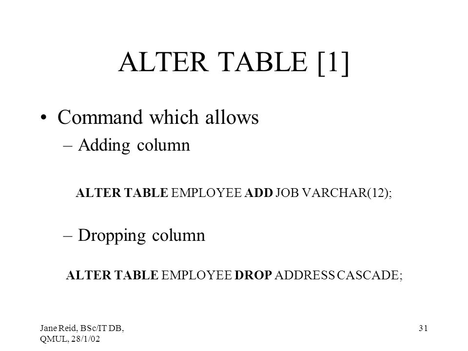 ALTER TABLE [1] Command which allows Adding column Dropping column